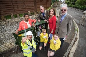 Picture: Andrew Walmsley 15/07/16 Steeple Aston L-R standing: Stacey King (BT regional manager), Cllr Michael Waine (chair of OCC), Victoria Prentis MP, and Cllr Ken Atack L-R front: Karl Rolfe (Openreach engineer), Oscar Willis and Emily Whiting (kids from Dr Radcliffe's Church of England primary school) Steeple Aston residents, businesses, children and community groups were today (Friday) joined by Victoria Prentis MP to celebrate even more of the village getting better access to the information superhighway. The historic village is the first community in Cherwell district to benefit from the second phase of the multi-million pound Better Broadband for Oxfordshire programme. The roll-out, which is part of the Government's Broadband Delivery UK (BDUK) programme, is led by Oxfordshire County Council and BT, supported by Cherwell District Council, South East Midlands Local Enterprise Partnership (SEM LEP) and OxLEP (Oxfordshire Local Enterprise Partnership).
