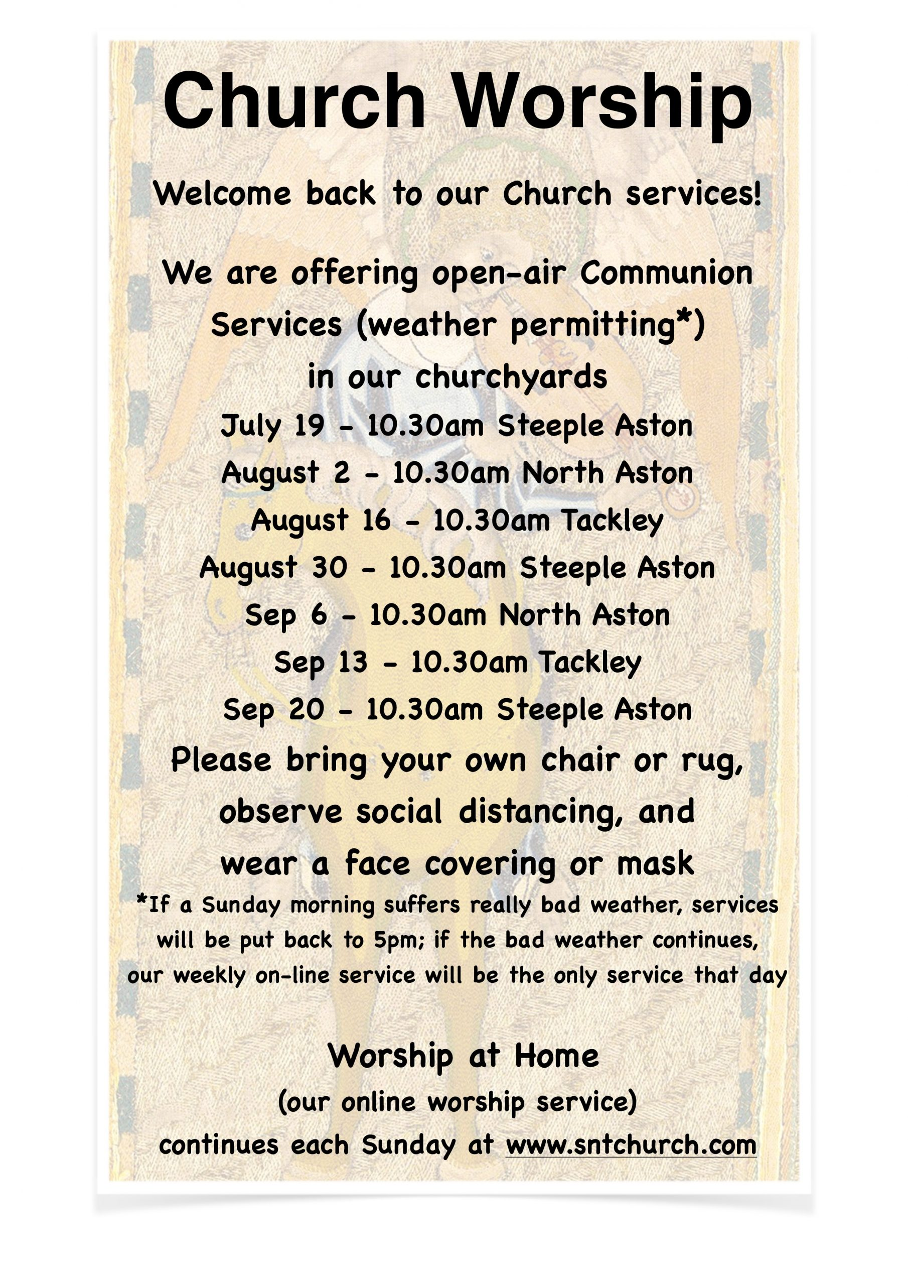 Notice about church services