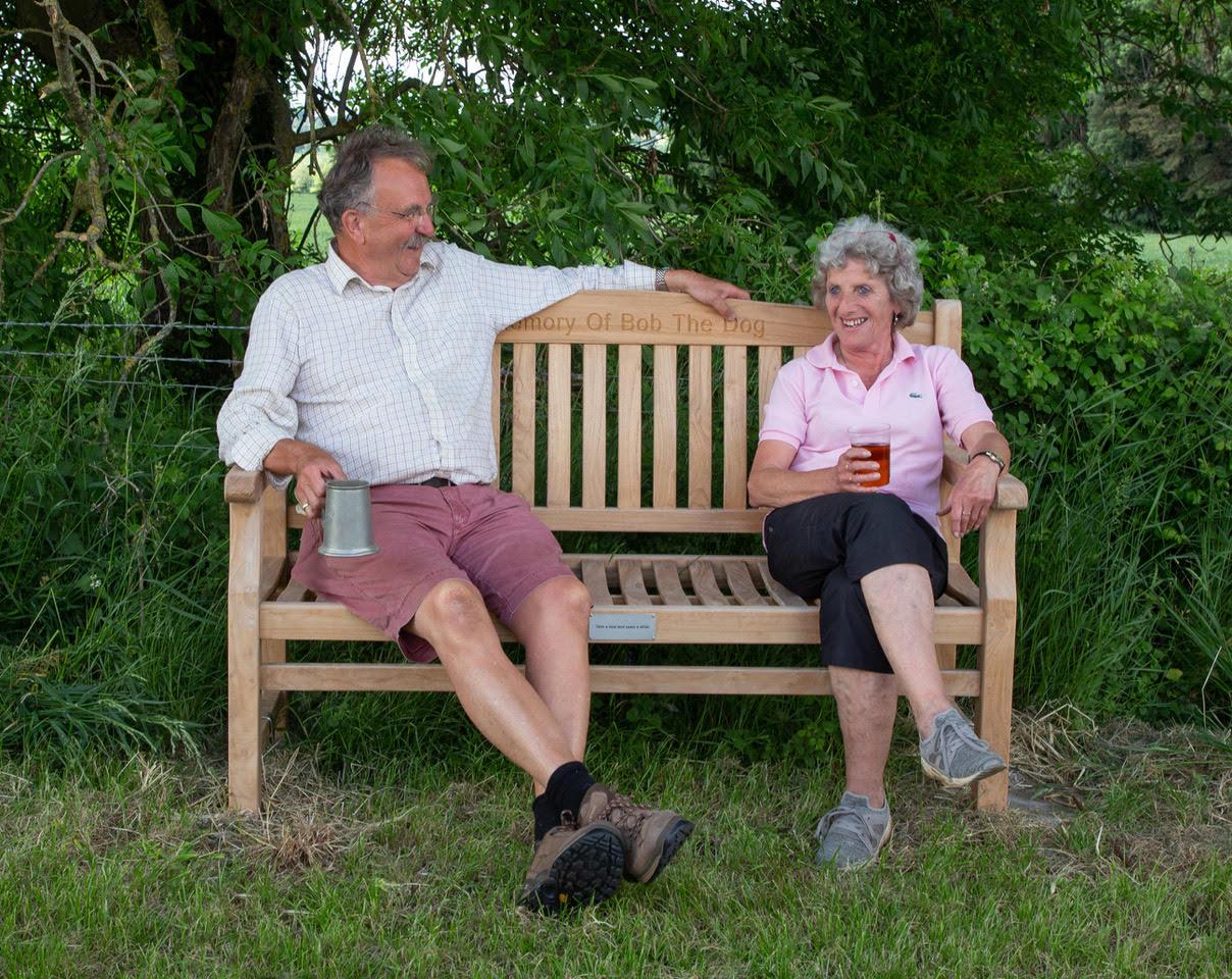 Graham Porcas& Debs Morris sitting on Bobs Bench